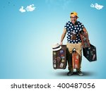 tourist on vacation with a... | Shutterstock . vector #400487056