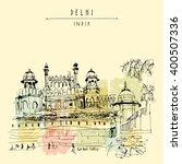 red fort in delhi  india.... | Shutterstock .eps vector #400507336