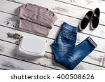 sweater and slip on shoes.... | Shutterstock . vector #400508626