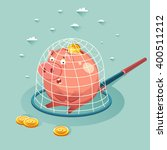 money piggy bank in a trap.... | Shutterstock .eps vector #400511212