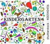 kindergarten line art design... | Shutterstock .eps vector #400540456