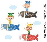 children who got on the carp... | Shutterstock .eps vector #400544056