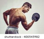 muscular bodybuilder guy doing... | Shutterstock . vector #400545982