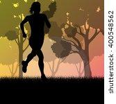 fitness young woman runner... | Shutterstock .eps vector #400548562