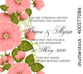 wedding card or invitation with ... | Shutterstock .eps vector #400577086