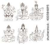 set of hindu gods and godness.... | Shutterstock .eps vector #400584895