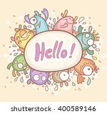 greeting card with cute monsters   Shutterstock .eps vector #400589146