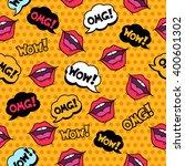 wow  seamless pattern in pop... | Shutterstock .eps vector #400601302
