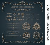 vintage set of decorative... | Shutterstock .eps vector #400604515