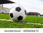 soccer football on white line... | Shutterstock . vector #400606672