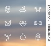 fitness line icons  thick...   Shutterstock .eps vector #400607725