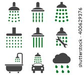 shower and bath vector icon set....