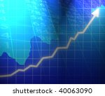 arrow graph going up on a blue... | Shutterstock . vector #40063090