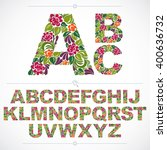 floral font  hand drawn vector... | Shutterstock .eps vector #400636732