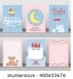 happy birthday, baby shower for newborn celebration greeting and invitation card or note.  there are shoes, moon, dress. layout template in A4 size. vector illustration. text can be added | Shutterstock vector #400653676