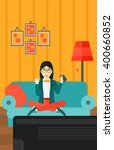 woman playing video game. | Shutterstock .eps vector #400660852