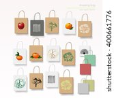 empty paper bags set. bags with ... | Shutterstock .eps vector #400661776
