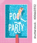 pool party poster template with ... | Shutterstock .eps vector #400663552