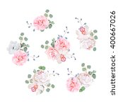 small wedding bouquets of rose  ... | Shutterstock .eps vector #400667026