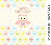 baby girl arrival card. baby... | Shutterstock .eps vector #400671316