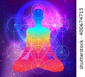 human silhouette meditating or... | Shutterstock .eps vector #400674715