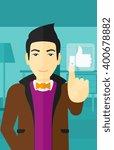man pressing like button.   Shutterstock .eps vector #400678882