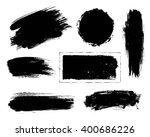 Set of black paint, ink, grunge, dirty brush strokes.