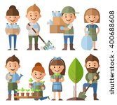 vector set of characters on... | Shutterstock .eps vector #400688608