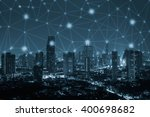 blue tone city scape and...   Shutterstock . vector #400698682