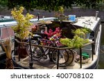 bikes and small garden on the...   Shutterstock . vector #400708102