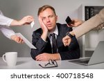 tired man being overloaded at... | Shutterstock . vector #400718548
