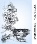 park sketch  a stone bridge... | Shutterstock .eps vector #400718656