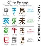 chinese horoscope letters.hand... | Shutterstock .eps vector #400719556