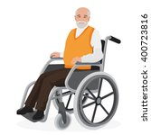 old man grandfather disabled in ... | Shutterstock .eps vector #400723816