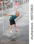 little happy boy has  fun in... | Shutterstock . vector #400723822