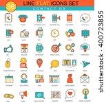 vector contact us flat line... | Shutterstock .eps vector #400723855