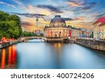 Stock photo museum island on spree river and alexanderplatz tv tower in center of berlin germany 400724206