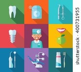 dental set of flat icons. tooth ... | Shutterstock .eps vector #400731955