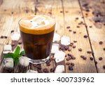ice coffee in a glass on the... | Shutterstock . vector #400733962