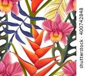 seamless tropical flower  plant ... | Shutterstock . vector #400742848
