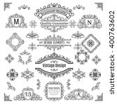 set of vintage  vector line... | Shutterstock .eps vector #400763602