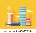 urban flat cityscape with trees ... | Shutterstock .eps vector #400772146