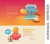 finance. bank building. piggy... | Shutterstock .eps vector #400782325