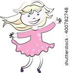 a girl in a pink dress running. ... | Shutterstock .eps vector #400782748