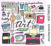 art supplies set. hand drawn... | Shutterstock .eps vector #400788562