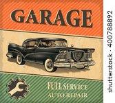 vintage garage retro poster | Shutterstock .eps vector #400788892