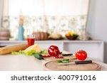 kitchen background with... | Shutterstock . vector #400791016