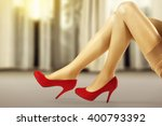 window and woman legs  | Shutterstock . vector #400793392