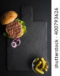 fresh homemade burger on dark... | Shutterstock . vector #400793626
