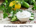 ranch sauce in a white... | Shutterstock . vector #400796782